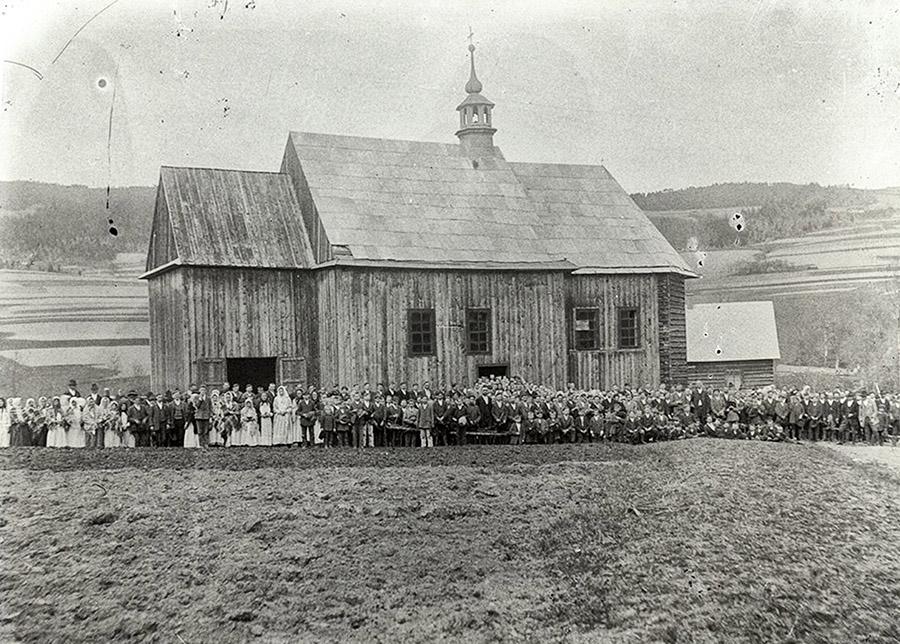 Kościół w Młyńczyskach na fotografii Wojciecha Migacza z 1932r.Fot Muzeum Okręgowe w Nowym Sączu